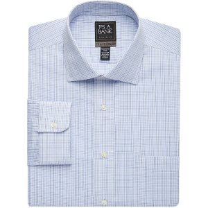 Travel Tech Tailored Fit Spread Collar Mini Check Dress Shirt