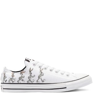 Converse白色低帮兔八哥帆布鞋