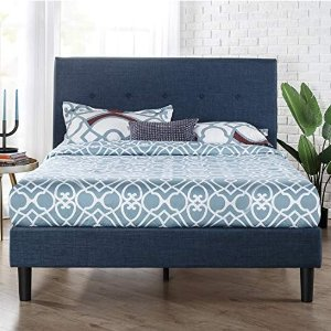 Zinus Omkaram 经典深蓝色床架 带床头板 Queen