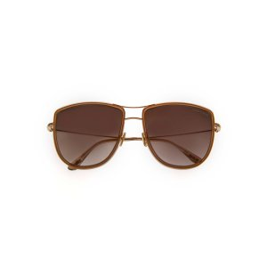 Tom FordShiny Rose Gold & Brown Aviator Style Sunglasses FT0759-5928F
