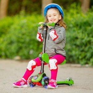 最高立减$20 车轮会发光 $49.95起SKIDEE 儿童2合1可折叠滑板车热卖,平衡车滑板车自如切换