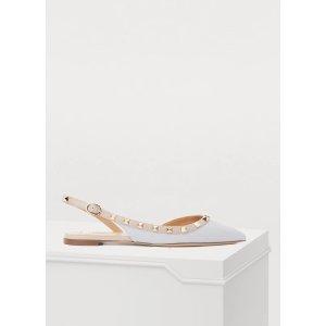 Valentino满$750享7.6折Gavarani 铆钉芭蕾鞋