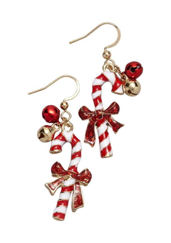 圣诞糖果耳环