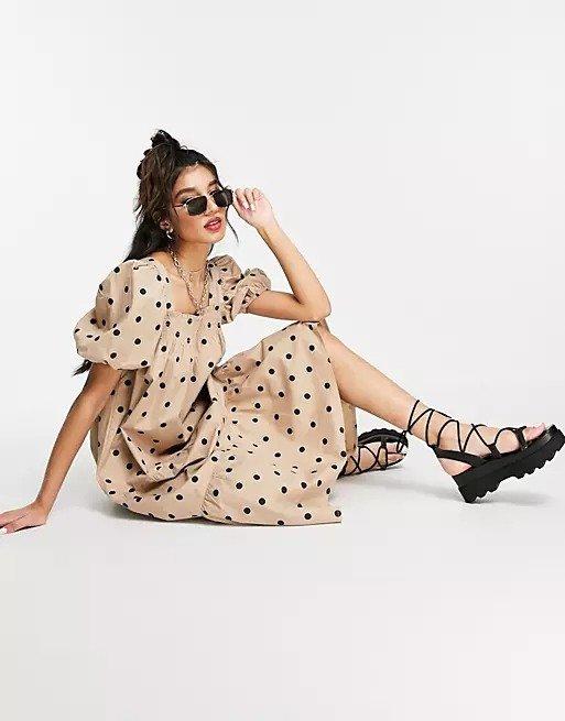 泡泡袖府绸中长连衣裙