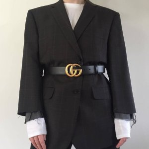 变相8折GUCCI 双G腰带定价优势 黑色款直降$120+