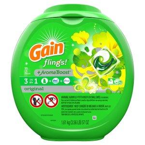 $18.87Gain3合1洗衣球72个+洗衣液100oz+Downy衣物柔顺剂103oz