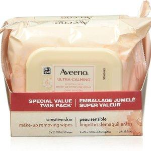 $12.91(原价$16.97)Aveeno 超温和卸妆巾 敏感肌必备 无油配方没负担