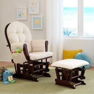 Storkcraft Bowback Glider Rocker and Ottoman