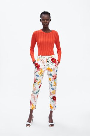FLORAL PRINT CHINO PANTS - View all-PANTS-WOMAN | ZARA United States