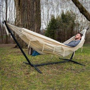 $118.53 (原价$126.97)Vivere 钢支架双人吊床 在家在户外享受悠闲好时光