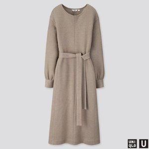 WOMEN U JERSEY BELTED LONG-SLEEVE DRESS | UNIQLO US