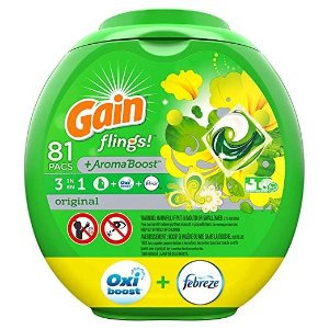 Gainflings! Liquid Laundry Detergent Pacs, Original, 81 Count - Packaging May Vary