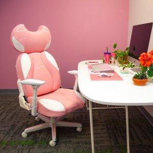"""女孩子都应该有的""""座""""驾新品上市:DXRacer 萌粉色猫头电竞椅 开箱+细节超多图种草"""