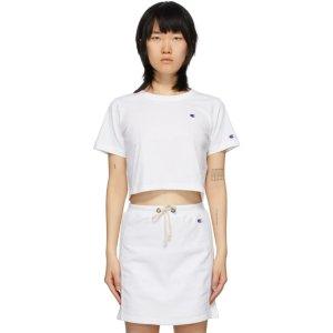 Champion Reverse Weave白色logo短款T恤