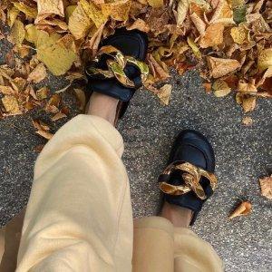 JW Anderson黑色金链子勃肯鞋