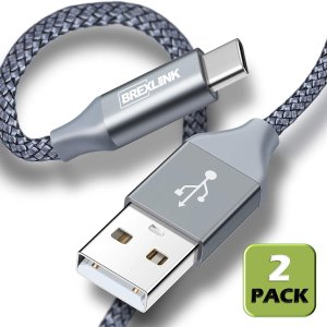 $6.99BrexLink 6.6英尺 USB C 尼龙充电线 两根装