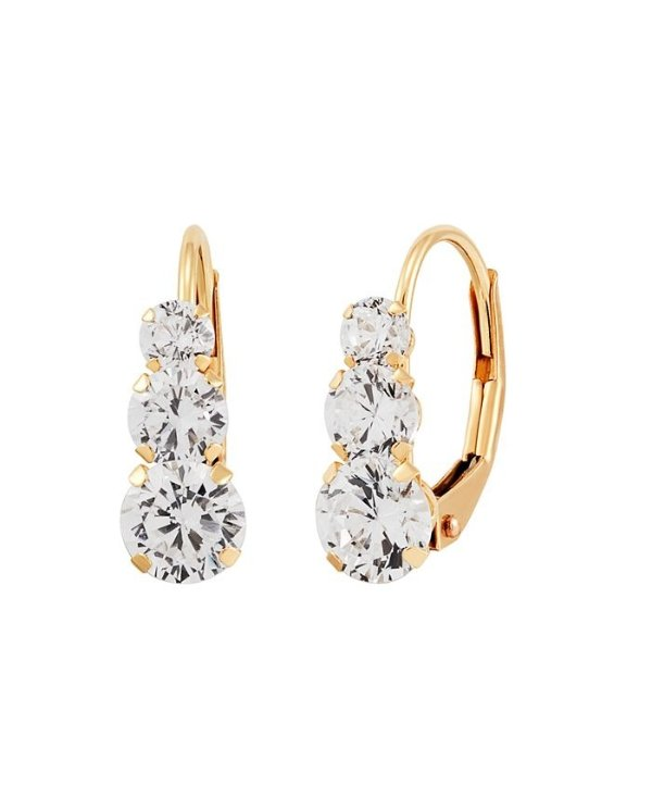 Swarovski Crystal(2-3/4 ct. t.w.)14k 黄金耳饰