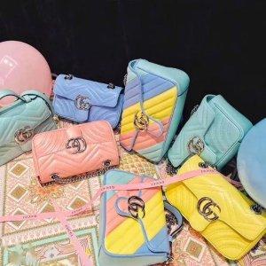 甜美上市 £505收樱花粉双G斜挎包Gucci 夏日甜品系 清新养眼最佳流行色