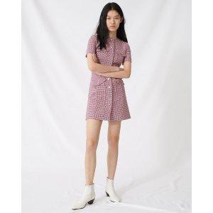MajePlaid Button-Front 连衣裙
