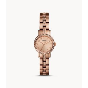 FossilShae Mini Three-Hand Stainless Rose Gold-Tone Steel Watch