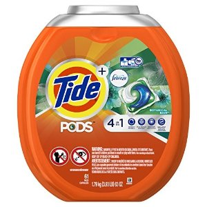 TidePODS 4 in 1 HE Turbo Laundry Detergent Pacs, Botanical Rain Scent, 61 Count Tub