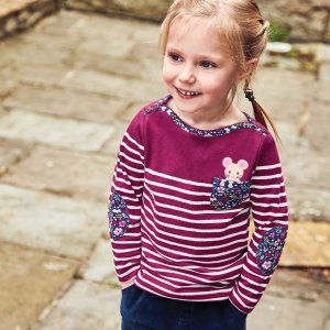 JoJo Maman BebeGirls' Berry Mouse Pocket Breton Top