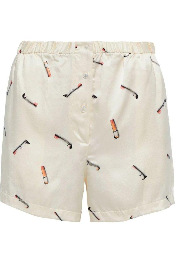 Printed silk-satin 香烟丝质短裤