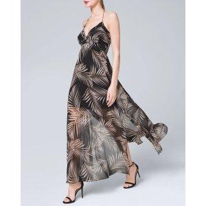 White House Black Market Palm-Print Soft Maxi Dress