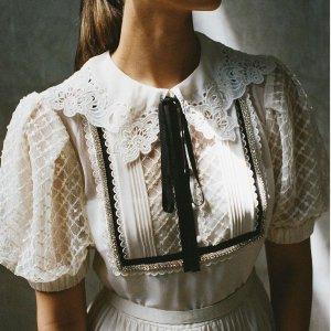 全场7.5折 金晨同款连衣裙$428Self-Portrait 精选仙女裙、上衣反季闪促 波点泡泡袖上衣$352