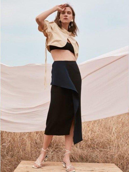 [Drama Collection] Draped Panel Skirt