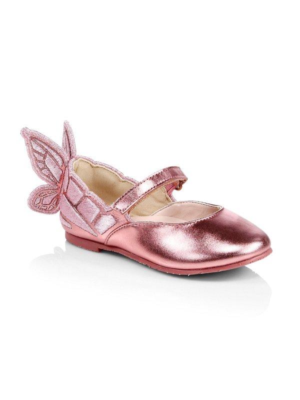 婴儿、小童 金属色蝴蝶芭蕾款平底鞋