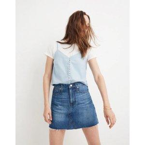 Rigid Denim A-Line Mini Skirt in Lakeline Wash: Eco Edition