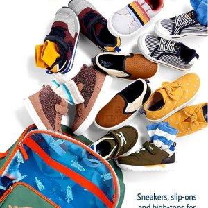秋冬款低至6折OshKosh BGosh 童鞋特卖 0-14岁码 凉拖$3 凉鞋$10特卖