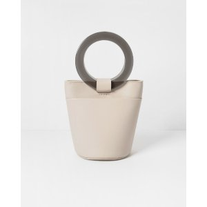 Modern WeavingWhite Mini Circle Handle Bucket
