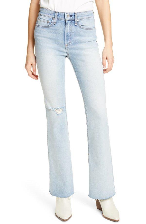 Nina Distressed高腰牛仔裤