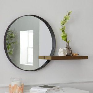 MoDRNNaturals Metal Framed Round Decorative Wall Mirror With Wood Shelf