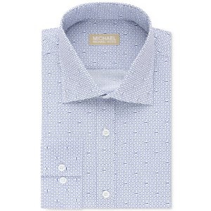 cac081f11e93 Michael KorsMichael Kors Men's Classic/Regular Fit Non-Iron Navy Logo Print  Dress Shirt