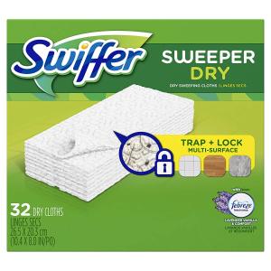 $7.58(原价$10.49)Swiffer Sweeper Dry 一次性替换干擦布 32片装