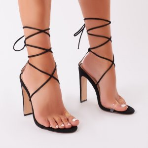 Geo Lace Up Heels in Black Faux Suede