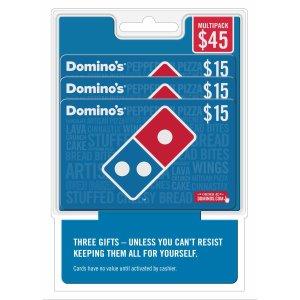 $39.99$15 Domino's Pizza Gift Card 3 pk @ BJs Wholesale Club