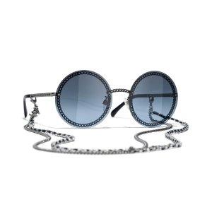 Chanel可拆卸链条圆框墨镜