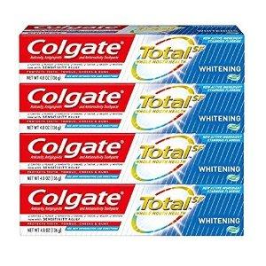 $8.90(原价$12.98)Colgate Total 美白牙膏凝胶 4.8 oz 4支