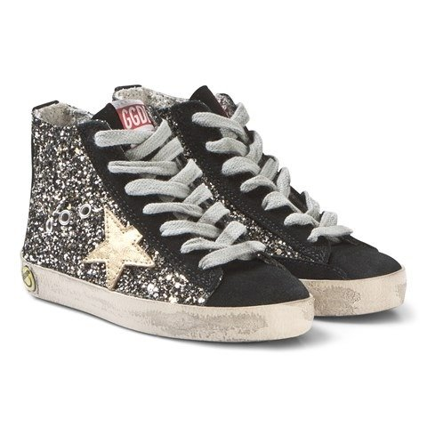 Black and Gold Glitter Francy Hi Tops | AlexandAlexa