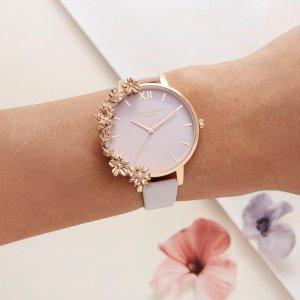 Olivia Burton满$365享75折精雕花簇手表
