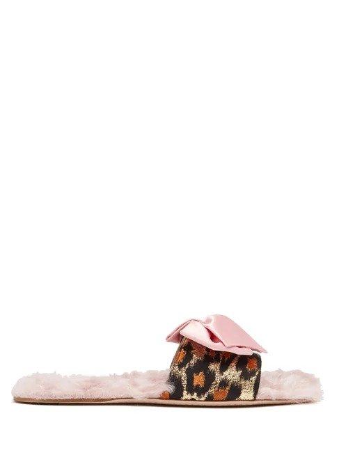 蝴蝶结毛毛拖鞋