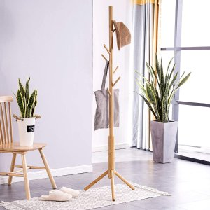 FILWH Bamboo Free Standing Coat Rack Stand
