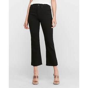 ExpressHigh Waisted Black Cropped Flare Jeans