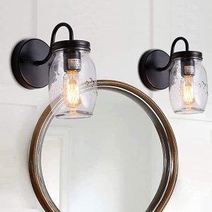 $34.99XIPUDA Mason Jar Light Fixture, Rustic Wall Sconce, Farmhouse Wall Porch Light Hallway Lighting Bathroom Vanity Lights (2 Packs)