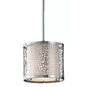 Feiss P1218CH Chrome Joplin 1 Light Mini Pendant with Off-WhiteLinen Shade