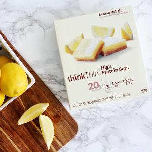 $6.61(原价$15.66)折扣升级:think! (thinkThin) 高蛋白能量棒 柠檬蛋糕口味 10块装